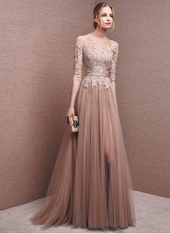A-Line/Princess Scoop Neck Floor-Length Tulle Evening Dress With Appliques Lace Split Front