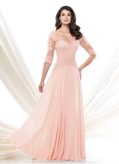 A-Line/Princess Scoop Neck Floor-Length Chiffon Mother of the Bride Dress With Beading Appliques Lace