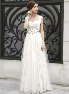 A-Line/Princess Sweetheart Floor-Length Chiffon Tulle Evening Dress With Beading