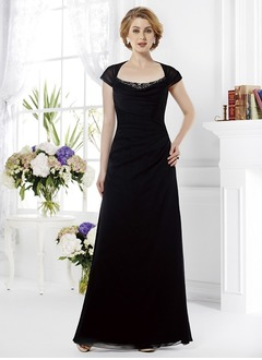 A-Line/Princess Square Neckline Floor-Length Chiffon Mother of the Bride Dress With Ruffle Beading