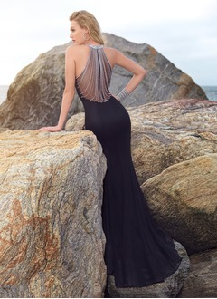 Trumpet/Mermaid Scoop Neck Sweep Train Jersey Prom Dress With Ruffle Beading (0185096786)