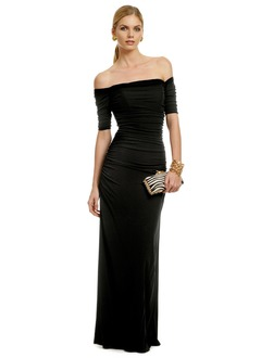 Sheath/Column Off-the-Shoulder Floor-Length Jersey Evening Dress With Ruffle