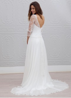 A-Line/Princess Scoop Neck Sweep Train Chiffon Wedding Dress With Lace
