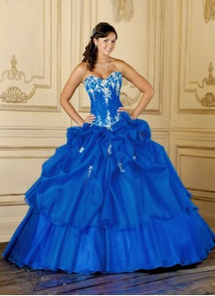 Ball-Gown Sweetheart Floor-Length Organza Quinceanera Dress With Ruffle Lace Sequins