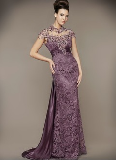 Sheath/Column Scoop Neck Watteau Train Charmeuse Lace Evening Dress With Beading