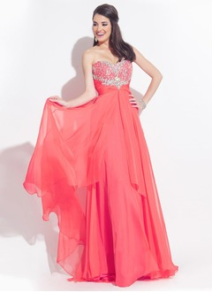 A-Line/Princess Strapless Sweetheart Sweep Train Chiffon Prom Dress With Beading