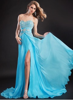 A-Line/Princess Sweetheart Court Train Chiffon Evening Dress With Ruffle Beading Sequins Split Front