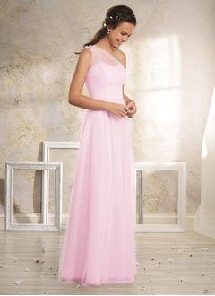 A-Line/Princess One-Shoulder Floor-Length Tulle Bridesmaid Dress With Flower(s)
