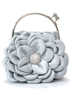 Unique Silk With Flower Wristlets/Bridal Purse