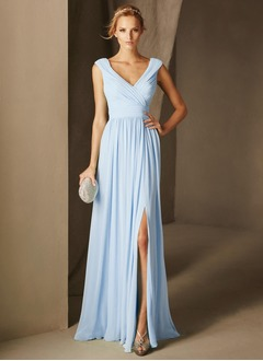A-Line/Princess V-neck Floor-Length Chiffon Evening Dress With Ruffle (0175119947)