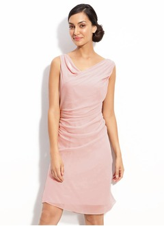 Sheath/Column Cowl Neck Knee-Length Chiffon Charmeuse Cocktail Dress With Ruffle