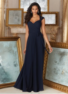 A-Line/Princess V-neck Floor-Length Chiffon Bridesmaid Dress With Ruffle Sequins