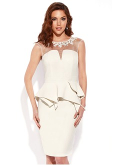 Sheath/Column Scoop Neck Knee-Length Satin Cocktail Dress With Appliques Lace Cascading Ruffles