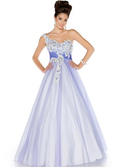 Ball-Gown One-Shoulder Floor-Length Tulle Charmeuse Quinceanera Dress With Lace Sash