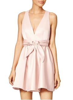 A-Line/Princess V-neck Short/Mini Satin Homecoming Dress With Ruffle Bow(s)