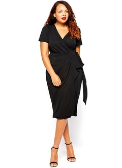 Sheath/Column V-neck Knee-Length Jersey Mother of the Bride Dress With Ruffle Cascading Ruffles