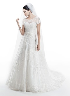 A-Line/Princess Scoop Neck Chapel Train Lace Wedding Dress