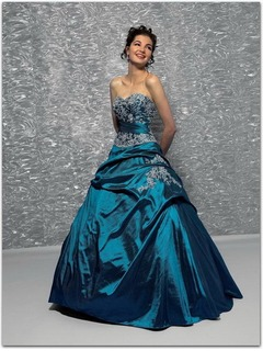 Ball-Gown Strapless Sweetheart Floor-Length Taffeta Quinceanera Dress With Embroidered Ruffle Beading