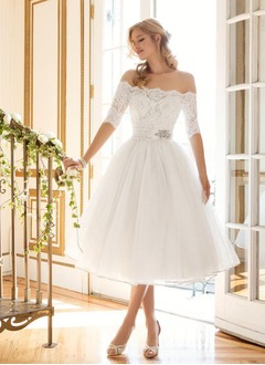 A-Line/Princess Off-the-Shoulder Tea-Length Tulle Lace Wedding Dress With Beading (0025061657)