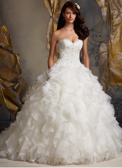 Ball-Gown Strapless Sweetheart Cathedral Train Organza Wedding Dress With Beading Sequins Cascading Ruffles