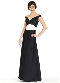 A-Line/Princess Off-the-Shoulder Floor-Length Satin Bridesmaid Dress With Ruffle Sash Crystal Brooch