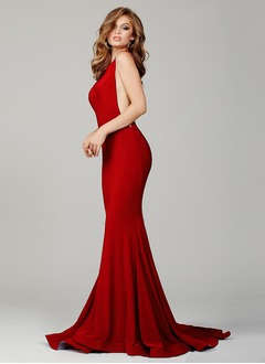 Trumpet/Mermaid Scoop Neck Court Train Jersey Prom Dress  ...