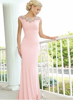 Sheath/Column Scoop Neck Sweep Train Charmeuse Evening Dress With Beading
