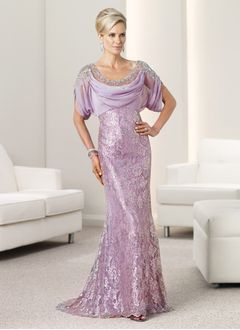 Trumpet/Mermaid Cowl Neck Sweep Train Chiffon Lace Mother of the Bride Dress With Beading