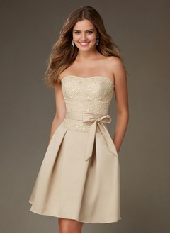 A-Line/Princess Strapless Sweetheart Knee-Length Satin Lace Bridesmaid Dress With Ruffle Sequins Bow(s)