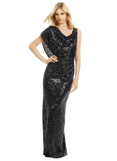 Sheath/Column Cowl Neck Floor-Length Sequined Evening Dress With Ruffle
