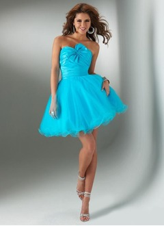 A-Line/Princess Strapless Sweetheart Short/Mini Taffeta Tulle Cocktail Dress