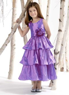 A-Line/Princess Scoop Neck Ankle-Length Taffeta Flower Girl Dress With Ruffle
