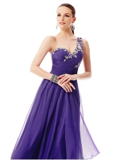 A-Line/Princess One-Shoulder Floor-Length Chiffon Prom Dress With Ruffle Appliques Lace