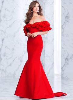 Trumpet/Mermaid Off-the-Shoulder Sweep Train Satin Evening Dress With Cascading Ruffles