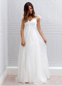 Empire V-neck Sweep Train Chiffon Wedding Dress With Ruffle Lace