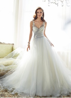 A-Line/Princess V-neck Cathedral Train Tulle Wedding Dress With Ruffle Beading