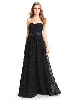 A-Line/Princess Strapless Sweetheart Floor-Length Lace Evening Dress With Ruffle Sash Flower(s)
