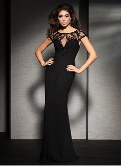 Sheath/Column Scoop Neck Floor-Length Chiffon Tulle Mother of the Bride Dress With Ruffle Beading Sequins