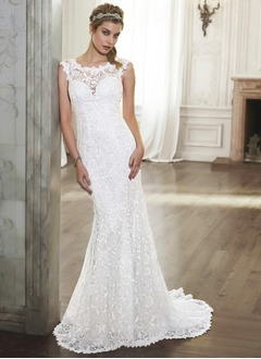 Trumpet/Mermaid Scoop Neck Court Train Satin Lace Wedding Dress