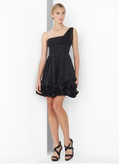 A-Line/Princess One-Shoulder Scalloped Neck Short/Mini Chiffon Cocktail Dress With Ruffle