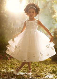 A-Line/Princess Scoop Neck Tea-Length Organza Satin Flower Girl Dress With Ruffle Lace