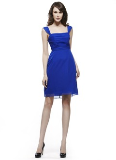 Sheath/Column Square Neckline Short/Mini Chiffon Bridesmaid Dress With Ruffle