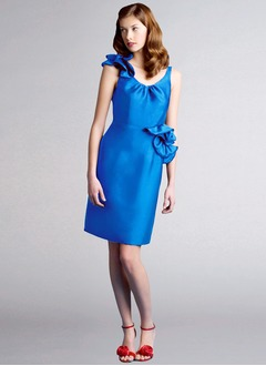 Sheath/Column Scoop Neck Knee-Length Charmeuse Cocktail Dress With Ruffle Bow(s)