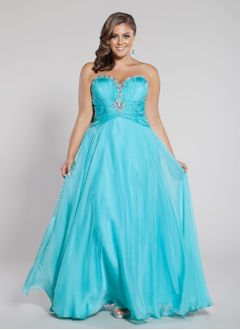A-Line/Princess Strapless Sweetheart Floor-Length Chiffon Prom Dress With Ruffle Beading