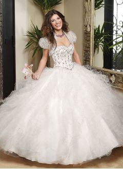 Ball-Gown Sweetheart Floor-Length Tulle Charmeuse Quinceanera Dress With Beading