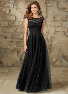 A-Line/Princess Scoop Neck Floor-Length Tulle Bridesmaid Dress With Lace