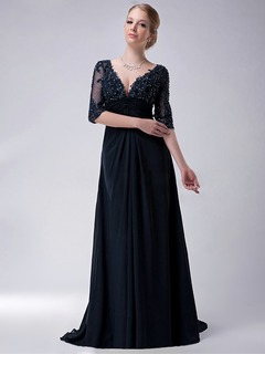 Empire V-neck Sweep Train Chiffon Mother of the Bride Dress With Beading