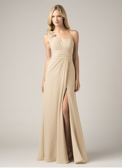 A-Line/Princess One-Shoulder Floor-Length Chiffon Bridesmaid Dress With Ruffle Flower(s) Split Front