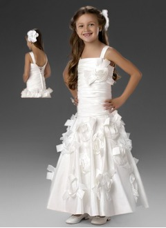 A-Line/Princess Strapless Ankle-Length Taffeta Flower Girl Dress With Ruffle