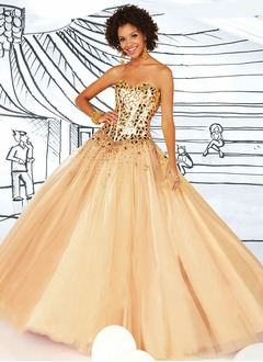 Ball-Gown Strapless Sweetheart Floor-Length Satin Tulle Prom Dress With Sequins